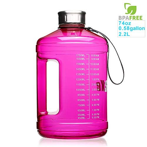 Great Deal Only 10 19 Sluxke 1 Gallon Water Bottle Leakproof Bpa Free Fitness Sports Water Jug Hydration Wit In 2020 Big Water Bottle Gallon Water Bottle Water Jug