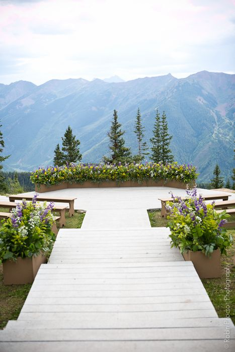 A view like this NEEDS to be in my backyard when we retire. Could pull it off somewhere along the hills in Eatonville/ Alder Lake area. (Aspen Mtn Wedding Deck decor, flower boxes by The Aspen Branch #wildflowers #wedding)