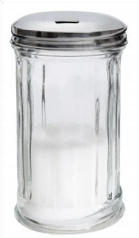 Zuckerstreuer American Style 300 ml.  Die Öffnung in der Edelstahlkappe ist durch eine kleine Klappe verschlossen.  Material: Pressglas mir eine Kappe aus Edelstahl