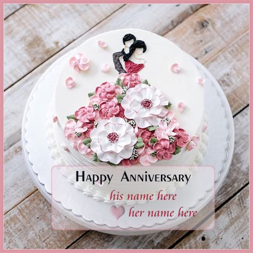 Romantic Anniversary Cake With Name Edit Happy Anniversary Cakes Happy Marriage Anniversary Cake Wedding Anniversary Cakes
