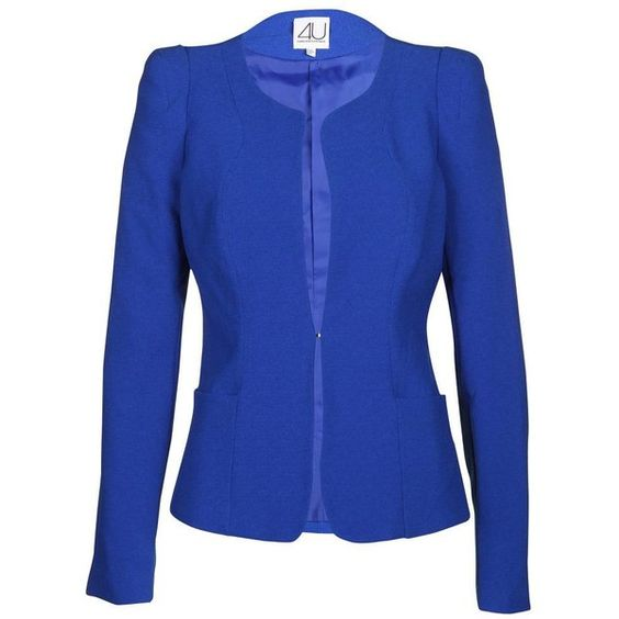 Forever Unique Women's Giselle Sax Blue Crepe Jacket ($72) found on Polyvore