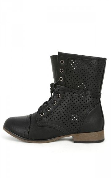 Chapter-40 Perforated Combat Boots BLACK