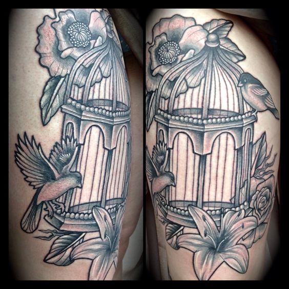 Pretty Bird Cage Tattoo