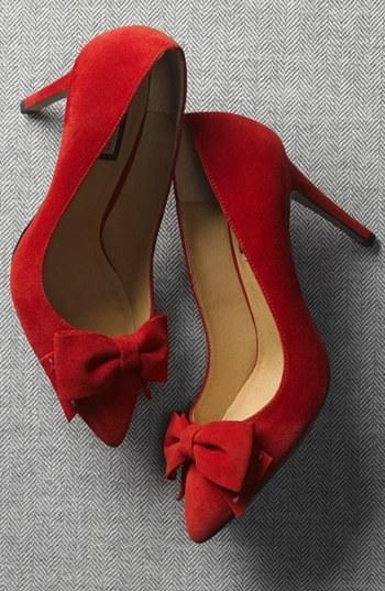 Romantic! Red Suede Bow Pointy Toe Pump | Shoe Lust | Pinterest ...