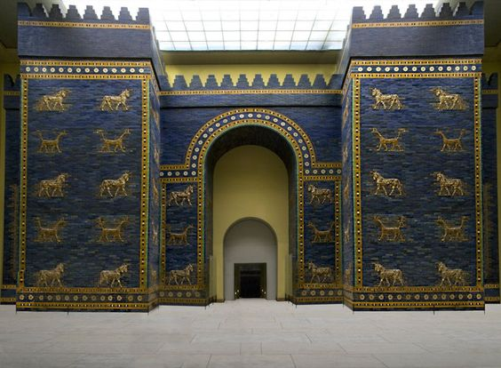The Ishtar Gate was the eighth gate to the inner city of Babylon, in the pergamon museum in Berlin.