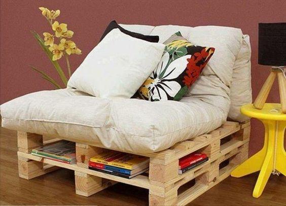 DIY Möbel aus Europaletten – 101 Bastelideen für Holzpaletten - holz paletten möbel selbst basteln DIY ideen gelb lackiert