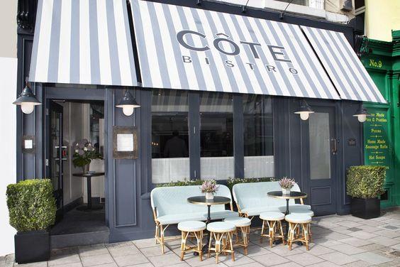 Markisen tuch mit blockstreifen und werbeaufdruck awnings - Restaurant exterior color schemes ...
