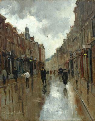 Leo Grijseels (Nederland, 1884-1966) De Tweede Wagenstraat, Den Haag, bij regenachtig weer - Kunsthandel Simonis en Buunk, Ede (Nederland).