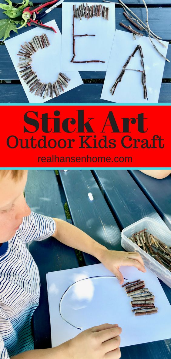 This Stick Art Outdoor Kids Craft is a fun and easy outdoor activity using simple supplies. This cheap DIY craft idea for boys and girls will help kids use their imagination and creativity.