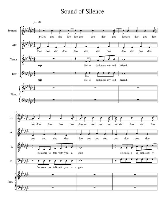 the sound of silence piano sheet pdf