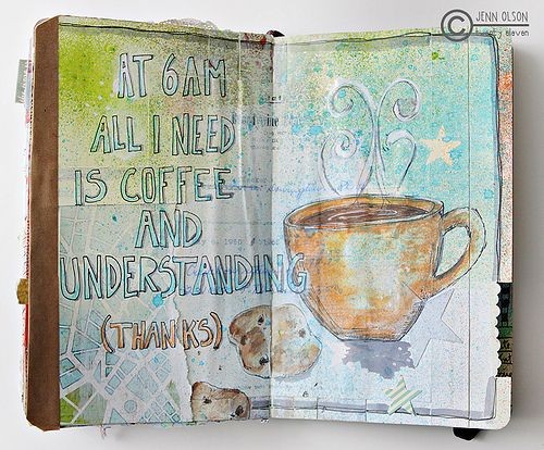 Actually at that hour I need more SLEEP! Great art journaling inspiration, I will have to think about making some coffee pages!