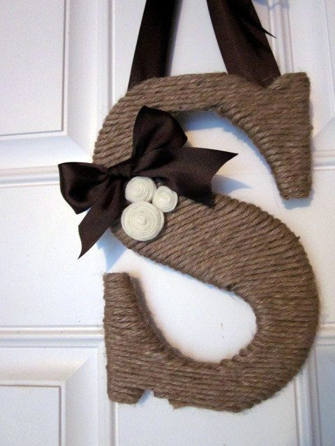 Twine Wrapped Letter Initial Monogram Wreath by lollyjodesigns