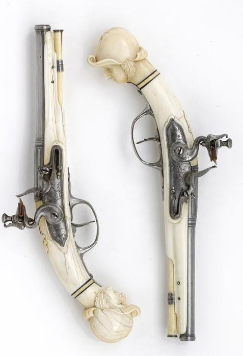 Pair of ivory-stocked flintlock pistols   by Jacob Kosters   Maastricht   1665 - 1670