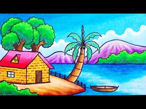 How To Draw Easy Scenery Youtube Easy Scenery Drawing Easy Drawings Easy Canvas Painting