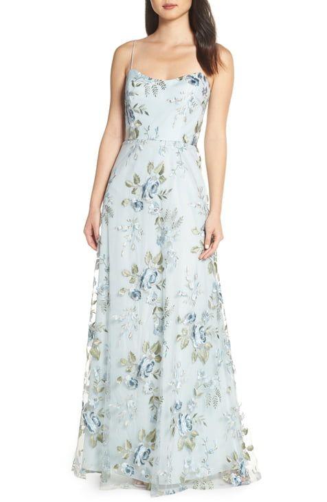 Women S Wedding Guest Dresses Nordstrom Floral Blue Dress Tulle Evening Dress Gowns Of Elegance