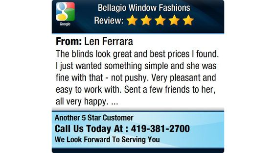 The blinds look great and best prices I found.  I just wanted something simple and she was...
