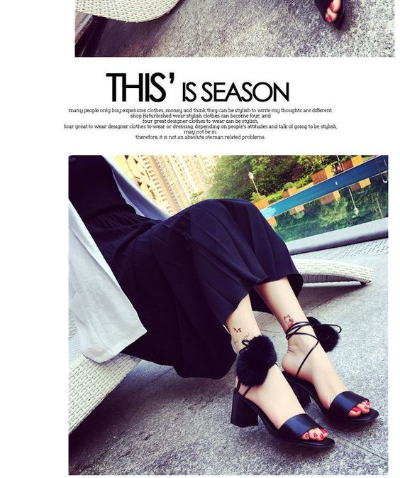 Pompom-Accent Chunky-Heel Sandals