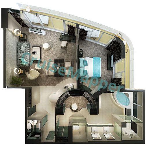 Norwegian Breakaway The Haven Deluxe Owners Suite Floor Plan Cabin Spa Rooms Norwegian Breakaway