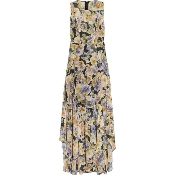 Needle & Thread Floral-print chiffon gown (244 AUD) ❤ liked on Polyvore featuring dresses, gowns, purple, floral print evening gown, floral print gown, rose print dress, flower print dress and floral print dress