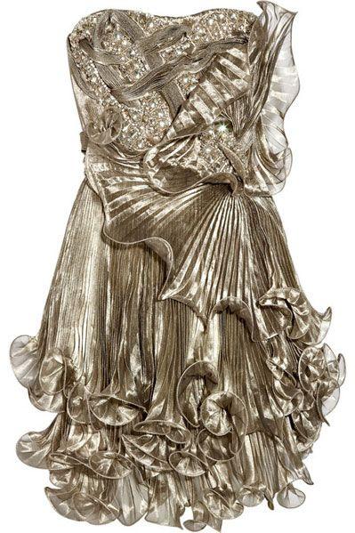 Marchesa Knife Pleated Metallic Silk organza Dress