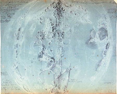 Giandomenico Cassini (1625-1712)  Original drawings of the Moon, 1671-1679.   Paris, Observatoire de Paris. Cassini used black pencil to record on most of the maps the date, time and circumstances in which he made his observations.
