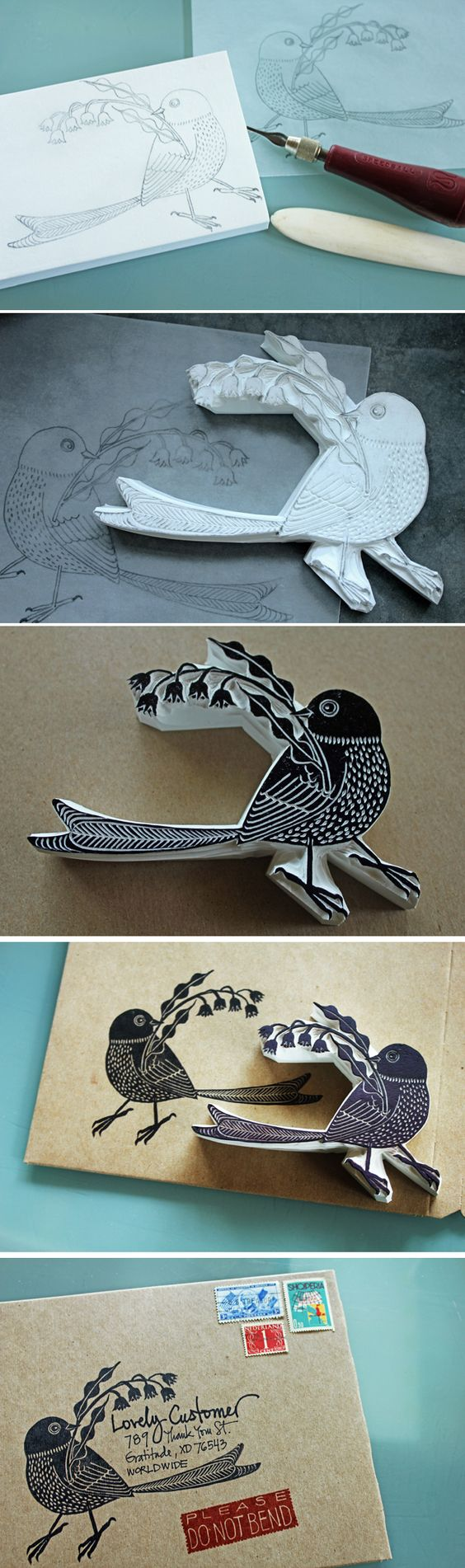 Carve your own stamp from a drawing or print out to create a beautiful envelope address or return label. Link to book with tutorial for making your own diy stamps! #bird #ink #packaging: