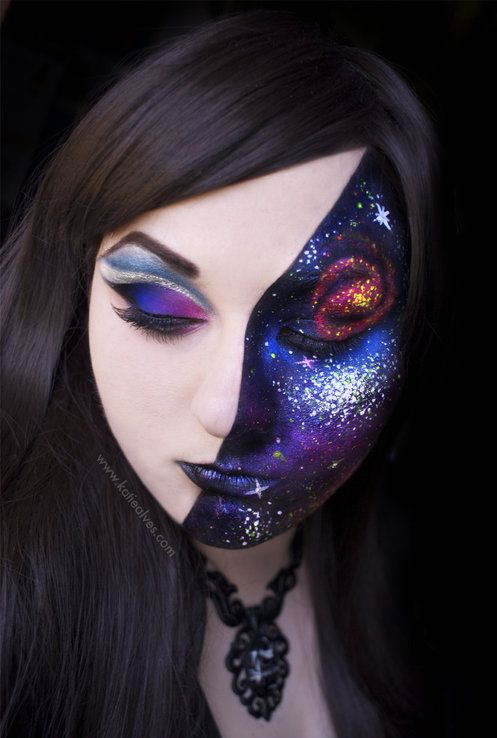 Even without the blacklight this makeup is amazing: