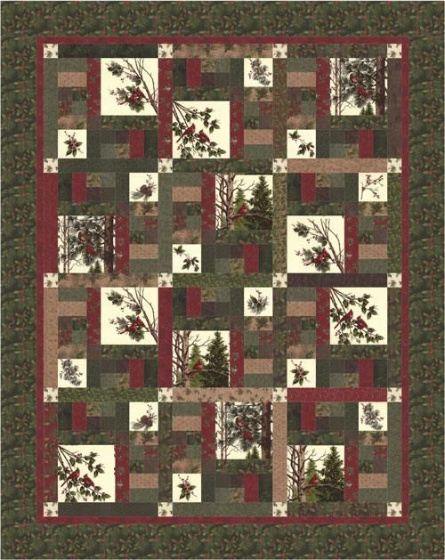 """Winters Song Kit by Holly Taylor. Pattern by Antler's Designs Winter Song. Finished Quilt is 64"""" x 80"""" approx. Kit includes all fabrics for the top of the quilt & binding."""