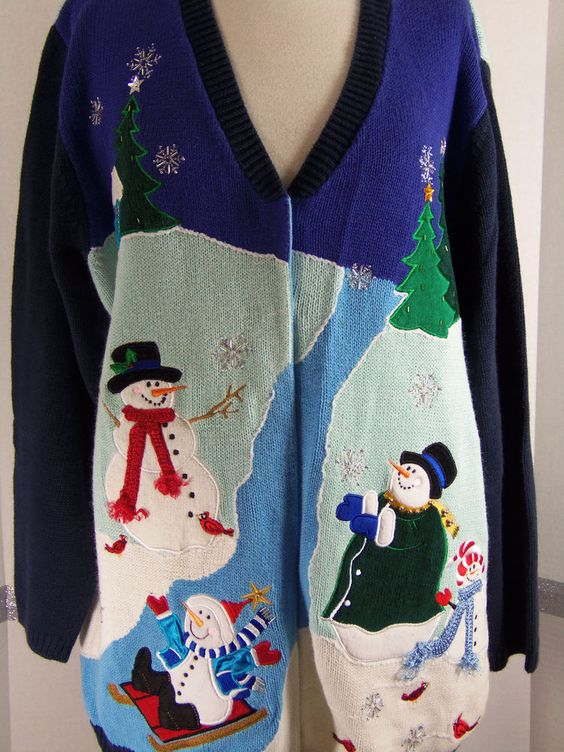 Quacker Factory Christmas Sweater Snowmen Size 1 X #QuackerFactory #Cardigan