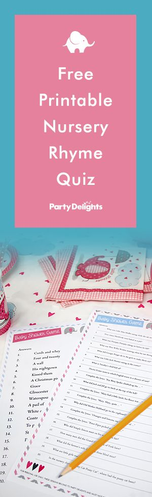 Free Printable Nursery Rhyme Quiz | Fun baby shower games ...