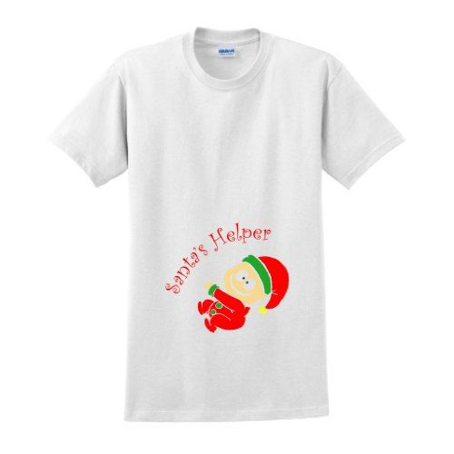 Pregnant Santas Helper Funny Maternity T-Shirt (NOT Maternity Sized) Christmas Xmas Santa Elf Bun Baby Shower Present Gift Expecting Mommy Mother Mom Mommy Tee 2XL White