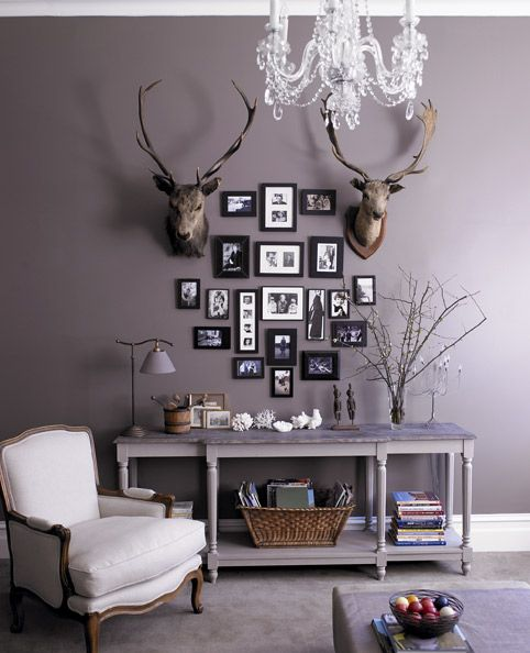 I'm loving grey paint on the walls...also, love the mix of rustic and elegant here