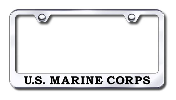 This U S Marine Corps License Plate Frame is made in the USA. Put this American made quality frame around your license plate to show pride on your vehicle. This MIRRORED STAINLESS STEEL license plate frame is custom-made and is a great replacement from being a rolling advertisement for a car dealership. Makes a Great gift and is a great alternative to a bumper sticker.  http://www.prideonmyride.com/U-S-Marine-Corps-License-Plate-Frame_p_545.html#