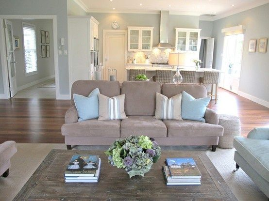 Paint colors design and love the on pinterest for Open concept living room