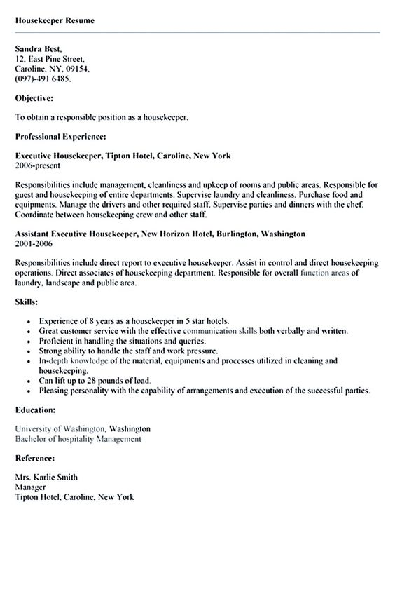 resume #housekeeper work related Pinterest Sample resume - sample housekeeping resume
