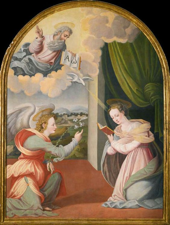 Niccolò Betti - Annunciation,  Oil on panel, arched top, 181 x 137 cm, Private collection