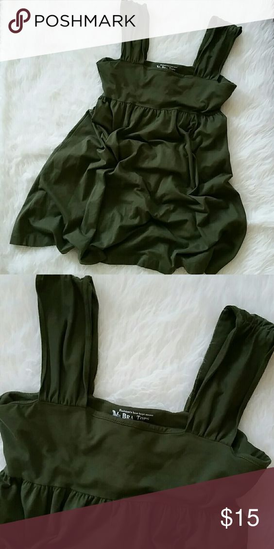 Victorias secret bra top Super cute and beautiful olive color. Great condition worn a couple times. Victoria's Secret Tops Tank Tops
