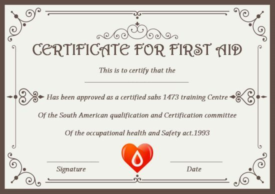 First Aid Certificate Template 15 Free Examples And Sample Templates Free Download Template Certificate Templates First Aid Occupational Health And Safety