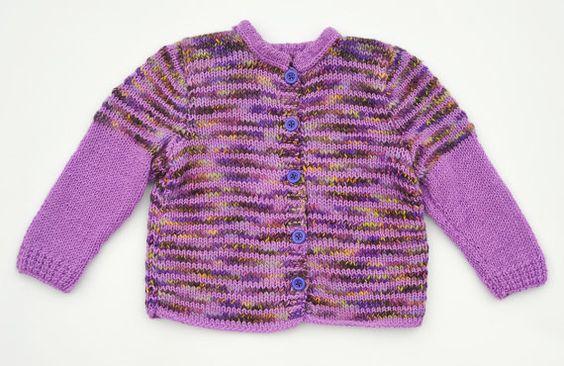 Girls sweater / jacket knitted cardigan - purple, pink, orange, brown, yellow, lavender, wool winter warm, soft knitting size - 3T OOAK
