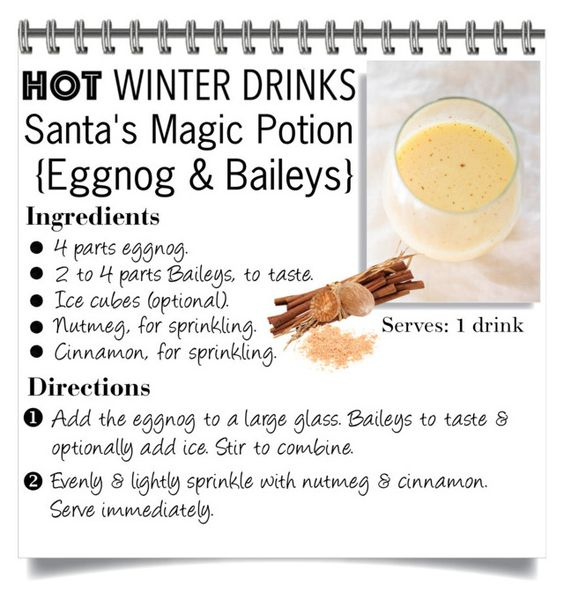 """Hot Winter Drink ~ Santa's Magic Potion {Eggnog & Baileys}"" by lucky-ruby ❤ liked on Polyvore featuring interior, interiors, interior design, home, home decor, interior decorating and hotwinterdrinks"