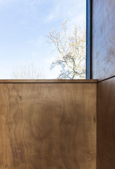 reading room / garage - plywood lining on timber frame - glazing slots between timber ribs  level - Cliffs Impasse House - Senneville-sur-Fécamp, France - Antonin Ziegler - 2014