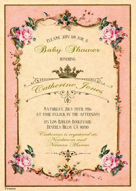Printable baby shower invitation. Tea party invitation. Retro french tea label invite. Shabby chic victorian. Royal baby. Crown. on Etsy, $20.00