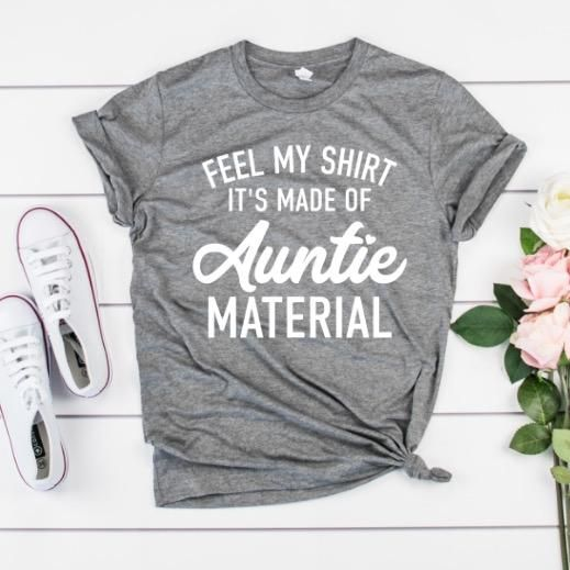 Auntie Squad White Short Sleeve T-Shirt for Women Aunt Tee Shirt