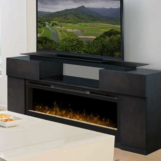 Concord Dark Grey Electric Fireplace Entertainment Center Gds50 1243sc Grey Products And
