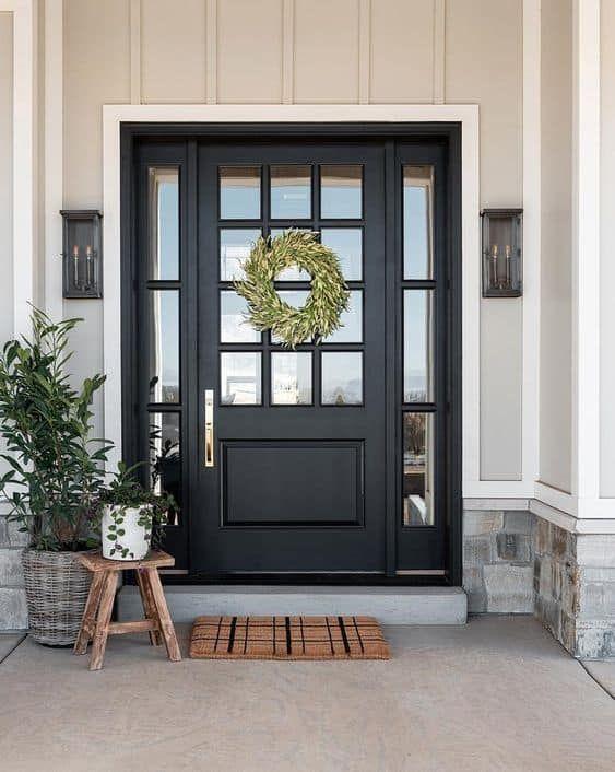 22 Stunning Black Front Door Inspirations Thetarnishedjewelblog Brick Exterior House Front Door Design Front Door Inspiration