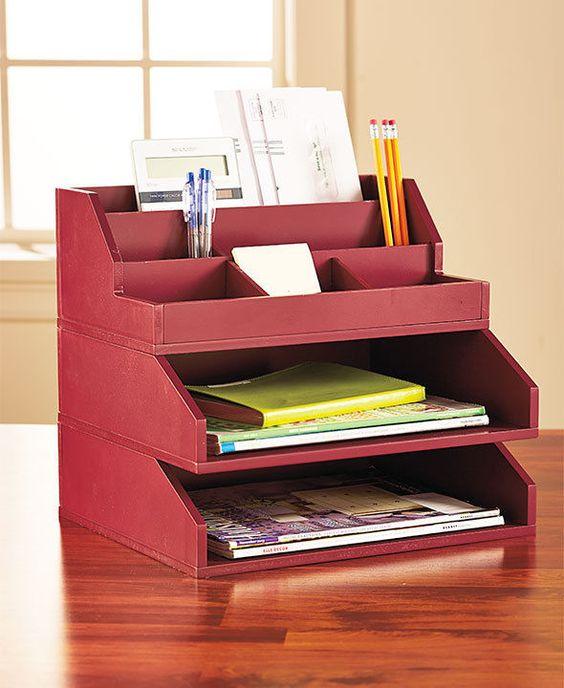RED 3-PC. WOODEN DESKTOP ORGANIZER OFFICE DESK TABLE DEN KITCHEN BEDROOM STORAGE