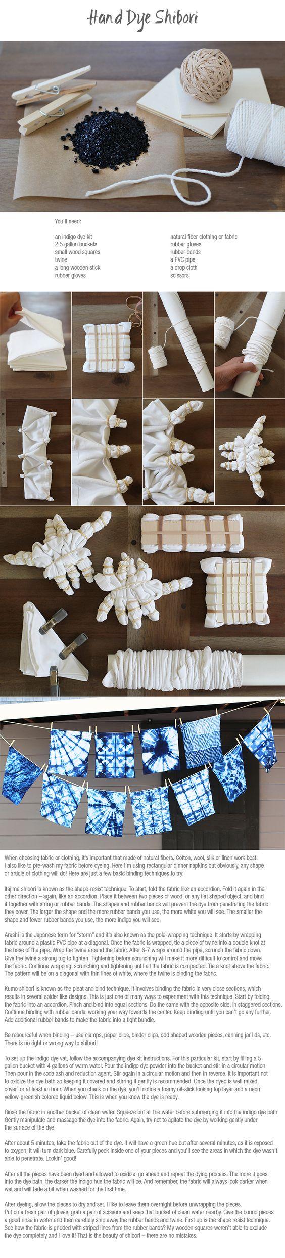 Hand dye shibori: