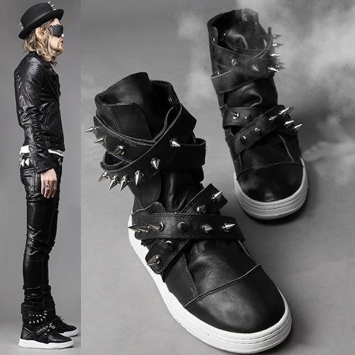Men Black Leather Spike Studded Hard Punk Rock Biker Combat Boots SKU-1280013