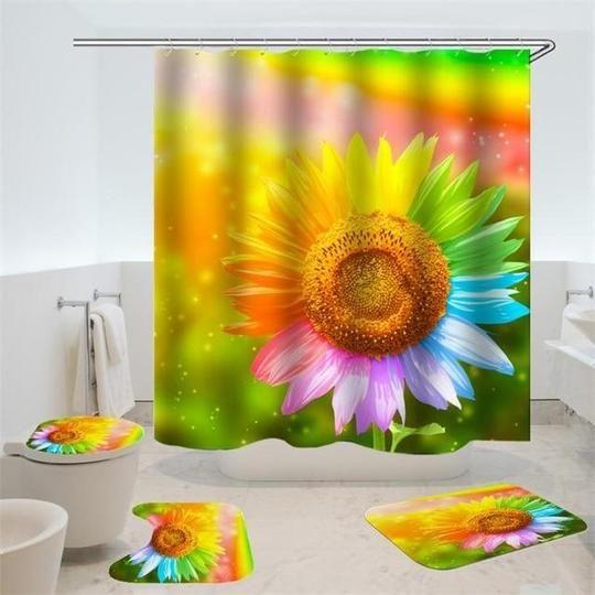 Colorful Sunflower Bathroom Set Flower Shower Curtain Bath Rugs