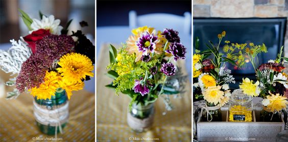 Hand made wildflower wedding floral decor. #yellow #purple #green #oregon #wedding #moscaphoto #moscastudio #matrimonio #sposa #fiori #woldflowers #diy #bouquet #floral #giallo #viola #verde © http://www.MoscaStudio.com